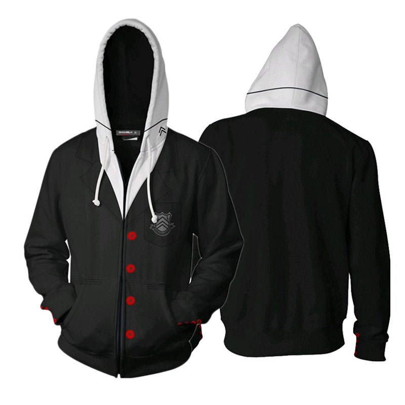 3D Printing Hoodie Anime Game Persona 5 Ren Amamiya Cosplay Zipper Hooded Jacket Sweatshirt Adults Unisex Streatwear Daily Coat