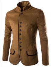 Воротник-стойка человек шерстяной пиджак Однотонная повседневная обувь осень-зима пальто Модная верхняя одежда Для мужчин Блейзер Бизнес комплект для досуга