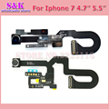 (1 unids/lote) pequeña cámara frontal flex cable con micrófono sensor de luz de proximidad para el iphone 7 plus 7g 7 p piezas de reparación