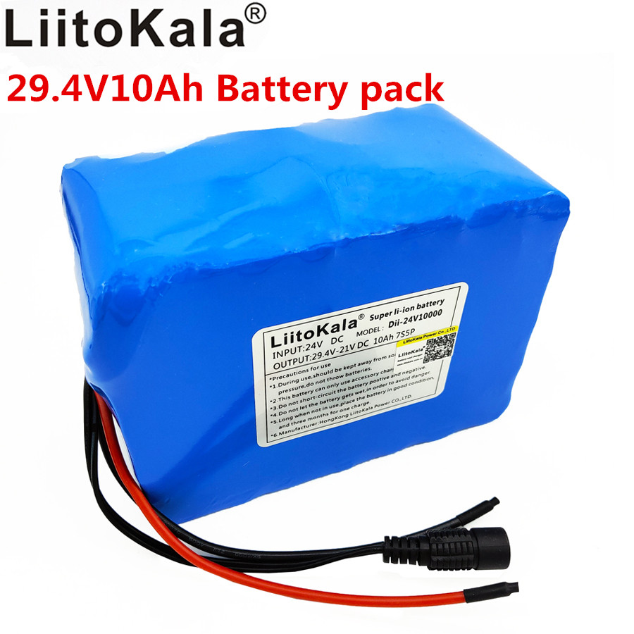 Liitokala <font><b>24</b></font> Lithium <font><b>V</b></font> <font><b>battery</b></font> <font><b>24</b></font> <font><b>V</b></font> <font><b>battery</b></font> large capacity lithium-ion <font><b>battery</b></font> 10ah bms discharge 15A 7 S 300 W power image