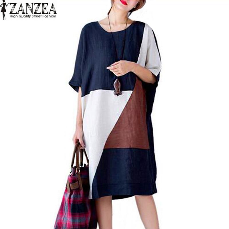 Plusz méretű ZANZEA női nyári patchwork O-nyakú rövid ujjú zsebek Party Vestido 2018 táska alkalmi hosszú ujjú ruha Kaftan