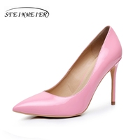 Women Sexy High Heels Shoes Quality Thin Heel Point Toe 10cm Patent Leather Red Silver Big