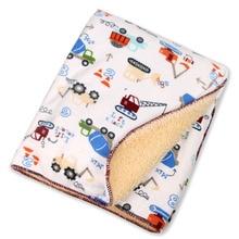 winter baby blankets Cartoon animals Short plush infant swaddle newborn envelope stroller blanket for baby bedding blanket
