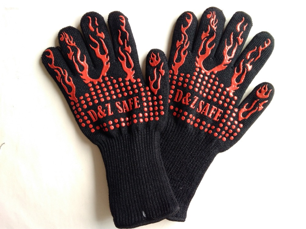 New Design Bbq Grill Glove Slip Resistant Fireproof Heat Silicone Oven Kitchen Gloves In Safety From Security Protection On