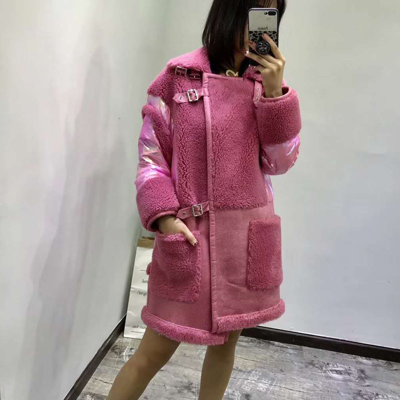 High quality real sheep fur   coat   real price 2019 new women winter patchwork duck   down   jacket leather thick warm female parka