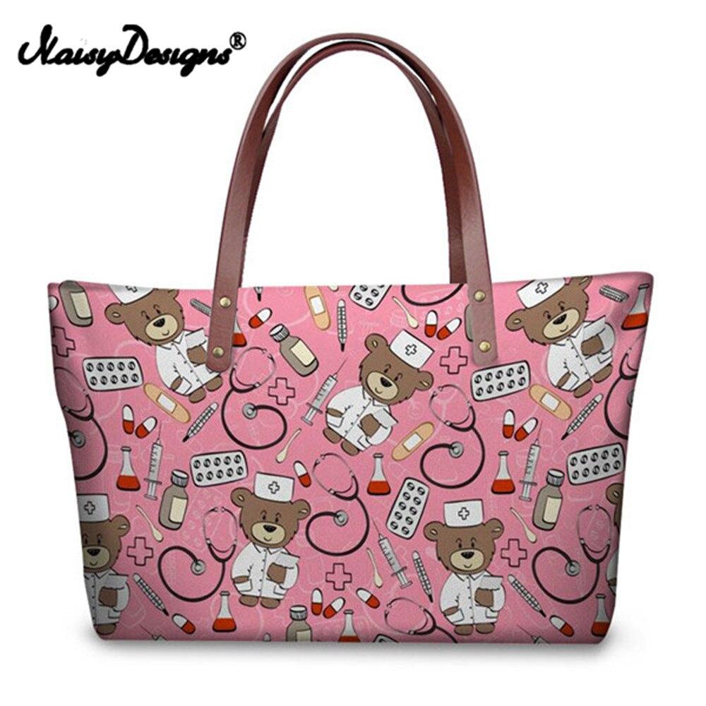 Noisydesigns Shopping mignon ours sac à main décontracté dessin animé infirmière Prinit grands sacs à bandoulière femmes dames d'été plage filles fourre-tout