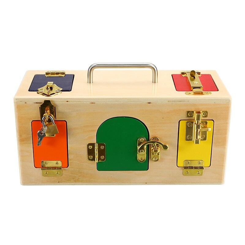 1 pc Multi-color de madera de los niños de la caja de bloqueo de madera de la enseñanza inteligente educación temprana rompecabezas niños desbloquear Juguetes