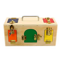 1pc Multi-color Wooden Children's Wooden Lock Box Intelligent Teaching Early Education Puzzle Children Unlock Toys