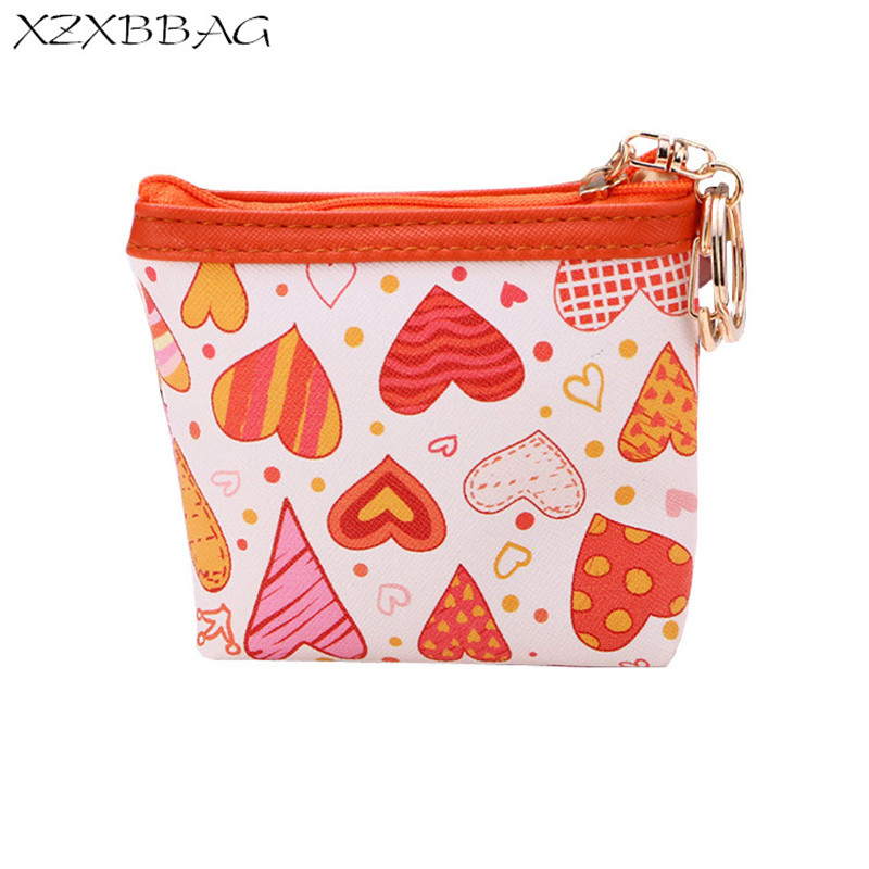 XZXBBAG PU Leather Girl Cute Printing Love Coin Purse Female Casual Zipper Small Wallet Kids Kawaii Change Pouch Zero Wallet