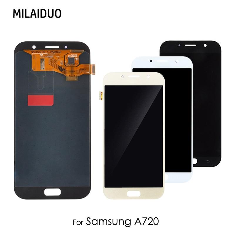 AMOLED/TFT Pour Samsung Galaxy A7 2017 A720 SM-A720F A720M A720Y/DS écran lcd écran tactile Assemblée Réglable luminosité