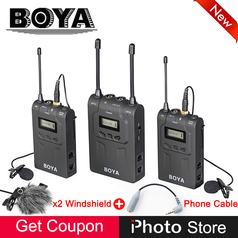 BOYA BY-WM8 UHF Dual-Channel Condenser Wireless Microphone System for ENG EFP DSLR Camera Camcorder Video Audio Studio Recording