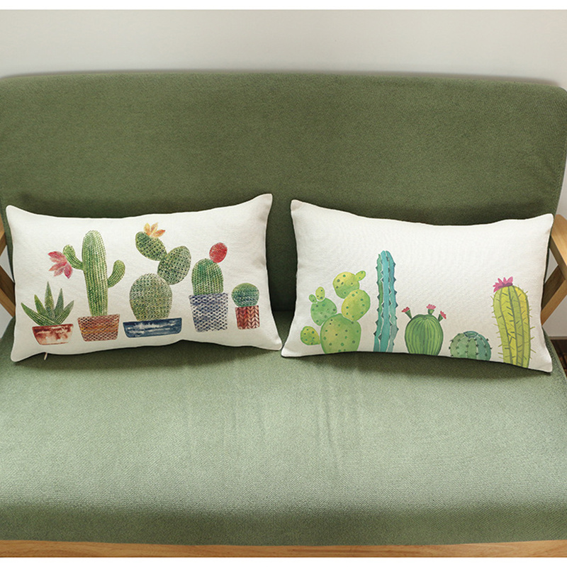 Cushion Cover Home Decor Decorative Pillowcase Cactus