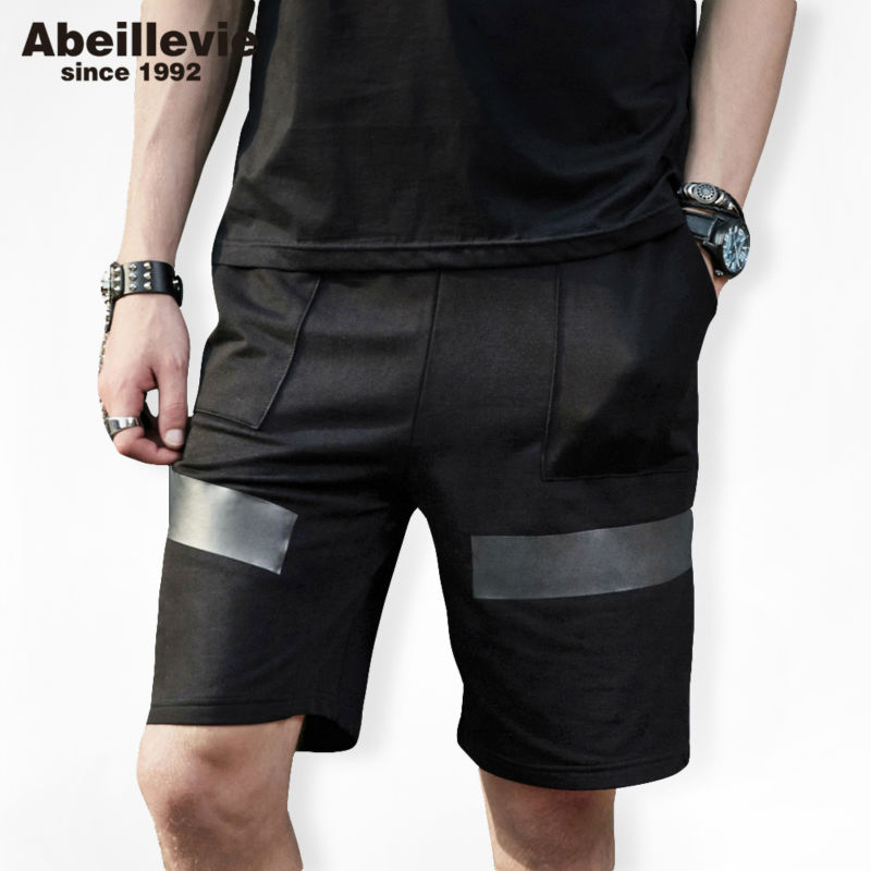 Abeillevie 2017 New Fashion Mens short Joggers Fashion Shorts Big Size Brand Mens Shorts Casual Mid Shorts Men Black ABD9020