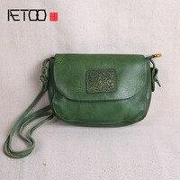 AETOO Original Handmade Leather Handbags Mini Bag Leather Art Simple Shoulder Retro Women Messenger Small Square