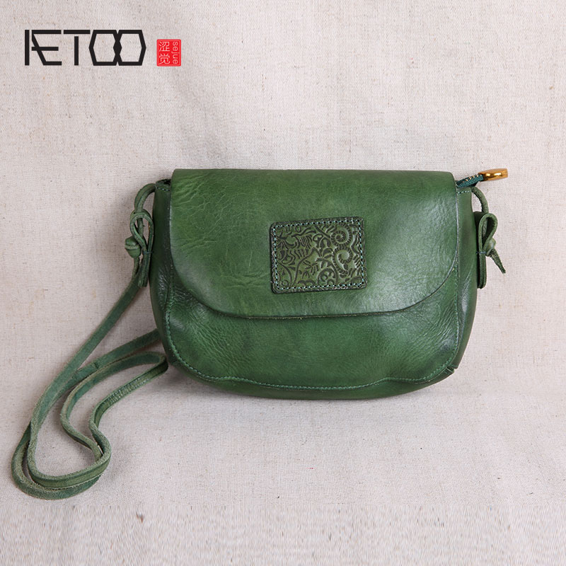 AETOO Original handmade leather handbags mini bag leather art simple shoulder retro Women Messenger small square bag