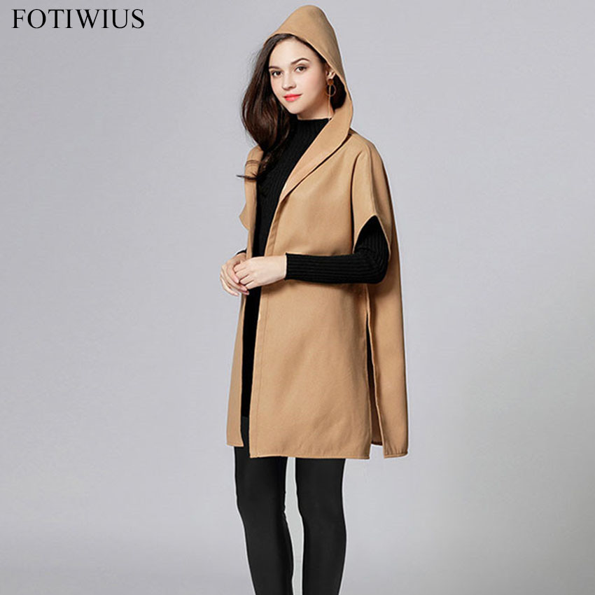 Kaki Casual Vêtements Femme Européenne D'hiver Femmes Khaki Taille Manteaux Capuchon Cachemire Manteau À La Mode 2018 Outwear Plus gUqn6Edgw