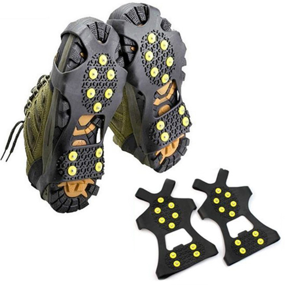 1Pair 10 Studs Anti-Skid Snow Ice Climbing Shoe Spikes Grips Crampons Cleats Overshoes Cleats Chain Claws Grips Shoes Crampon