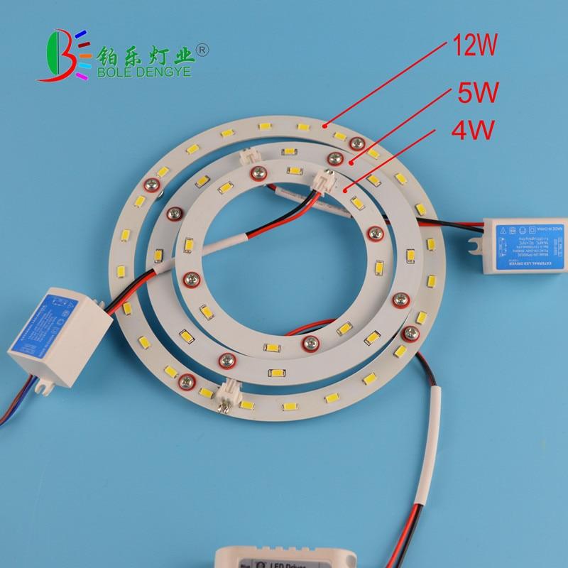 1 pieza 4 W 5 W 6 W 12 W LED Panel círculo anillo luz 5730 V SMD 220 LED redondo techo tabla circular lámpara tablero para comedor