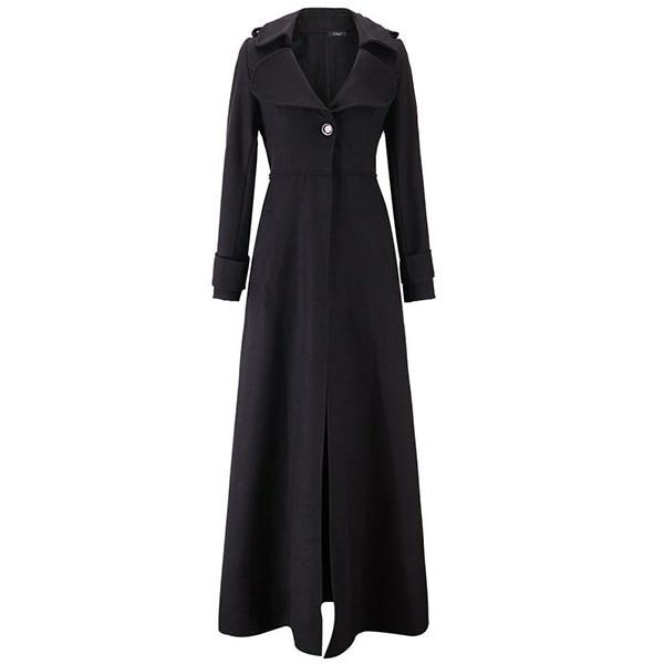Vintage Woolen Long   Trench   Coat Women Winter 2018 High Waist Slim Office Ladies Elegant Simple Windbreaker Black Swing Overcoats