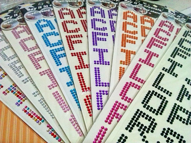 20 sheet 3cm tall big letter alphabet sticker mix self adhesive cyrstal scrapbook notebook paper