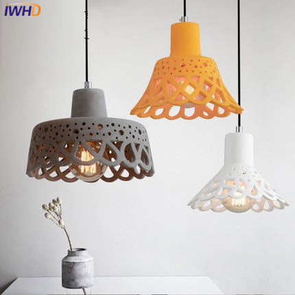 IWHD Cement Retro Pendant lights Industrial Vintage Hanging Lamp Loft Style Kitchen Bedroom Hanglamp Color Indoor Lighting loft industrial rust ceramics hanging lamp vintage pendant lamp cafe bar edison retro iron lighting