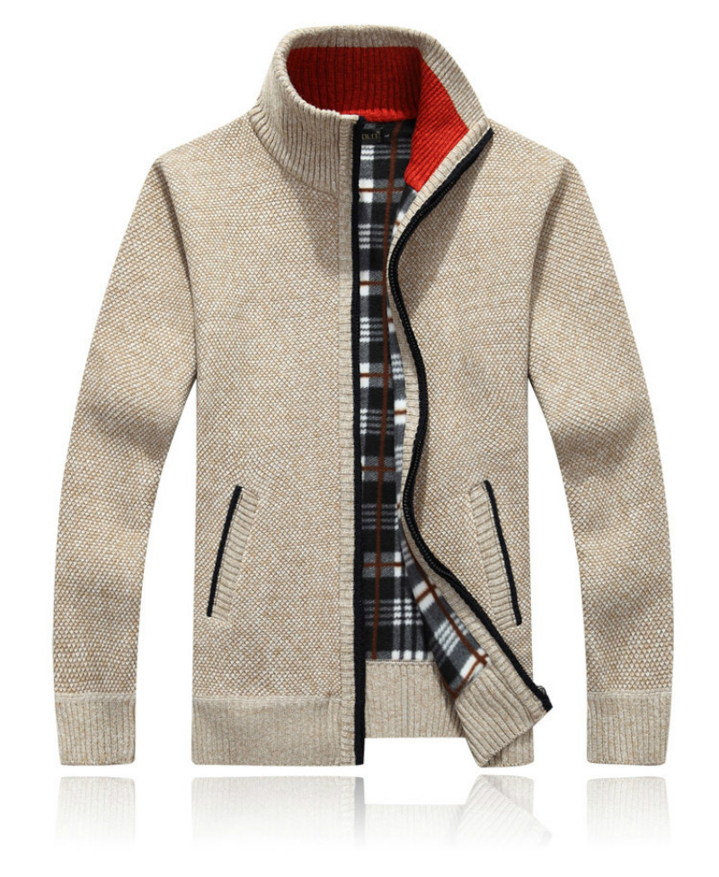 Men's Spring Autumn Wool Jacket High-Quality Zipper Knitted Casual Slim Wool Sweatshirts Coat Men Long Cotton Knitwear