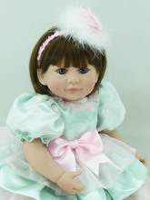 20 inch 50cm Silicone baby reborn dolls Children's toys green princess skirt short hair girl