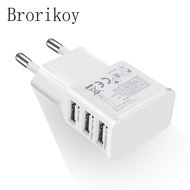 Brorikoy 3 USB Charger EU Plug for Samsung S7/S8 Note 8 iPhone X Adapter Wall Chargers Quick Quick Mobile Phone Travel Device