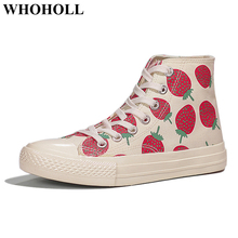 New Women Canvas Shoes High Top Lace-up Sneaker with Strawberry Print Retro Stylish Design Student Female Leisure Skate Footwear leisure women s satchel with canvas and colour matching design