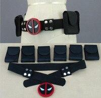 High quality super hero deadpool belt with 6 bags Waistband Wade T. Wilson Unisex Halloween Cosplay Accessories