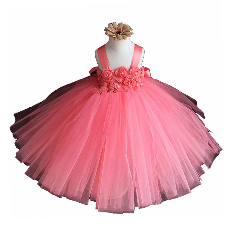 Flower Baby Girls Tutu Dress For 2-10Y Wedding Birthday Party Lace Band Princess Girls Ball Gown Dresses For Photo props