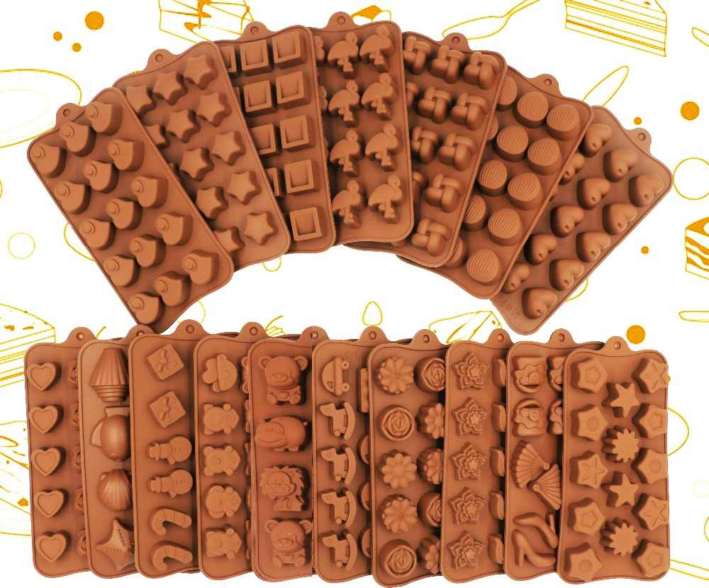 2019 New Silicone Chocolate Mold 25 Shapes 3D Chocolate baking Tools Jelly and Candy Mold DIY Numbers Fruit Kitchen Gadgets Good
