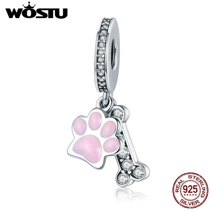 WOSTU Neue Sammlung 925 Sterling Silber Tier Hund Footprint & Hund Knochen Anhänger Charm fit Perlen Armband DIY Schmuck CQC452