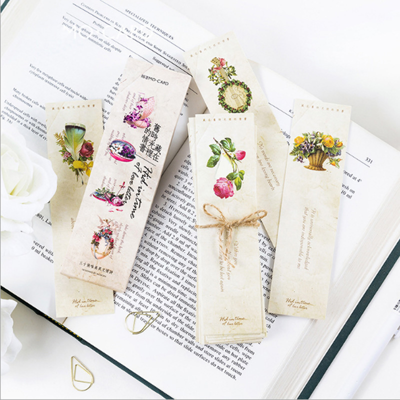 30pcs/box Old Time Love Letter Gift Bookmarks Marker Stationery Kawaii Bookmark Book Holder Message Card Office School Supplies
