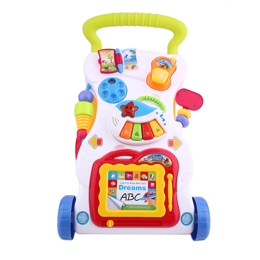 Hand Push Along Walker Hand Cart Children Designer Baby Stroller Baby Walker Music Sounds Lights Activity Toy Studying Walk ToolHand Push Along Walker Hand Cart Children Designer Baby Stroller Baby Walker Music Sounds Lights Activity Toy Studying Walk Tool