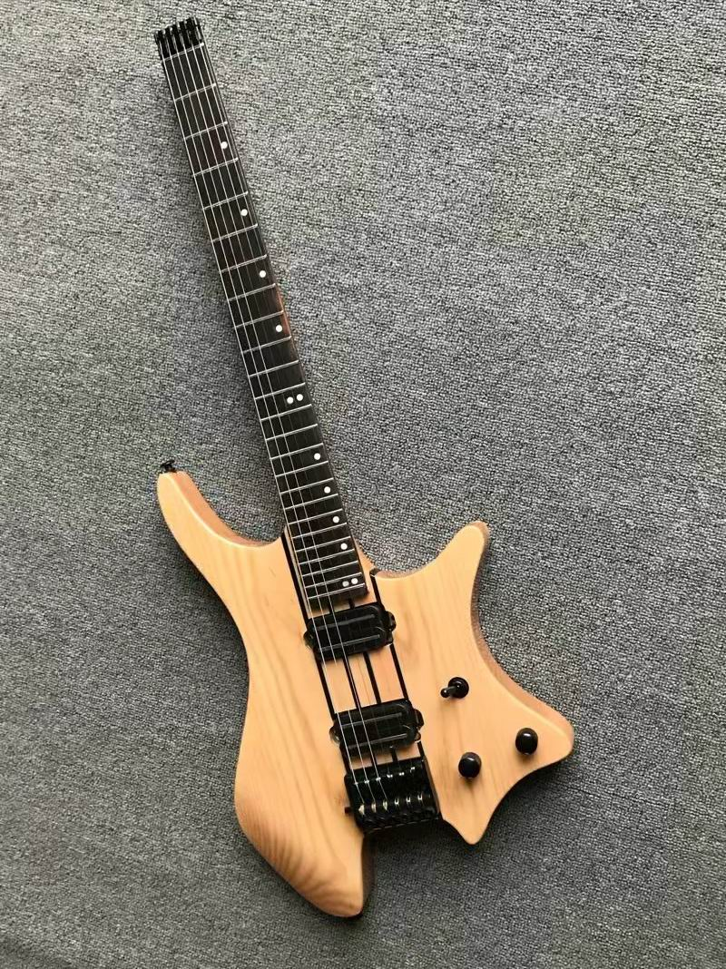 Vente en gros nouvelle guitare électrique 6 cordes sans tête populaire, 24 frettes, à travers le cou en frêne (noir et blanc est disponible) 180106