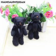 2PCS New Black Joint Bear Plush Toys Bow Tie Bears DIY Creative Handmade Stuffed Toy For Kids 2019 Hot Sale 11CM HANDANWEIRAN