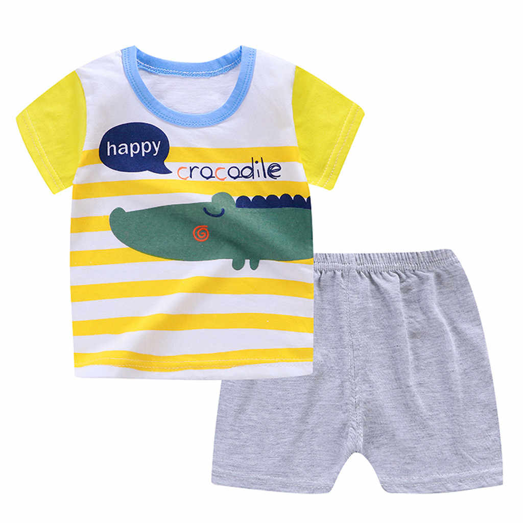 Summer 2019 Cotton Casual Kid Boy Outfits O-Neck Regular Short Sleeve Cartoon Clothes And Solid Shorts Children Toddler Boy Set