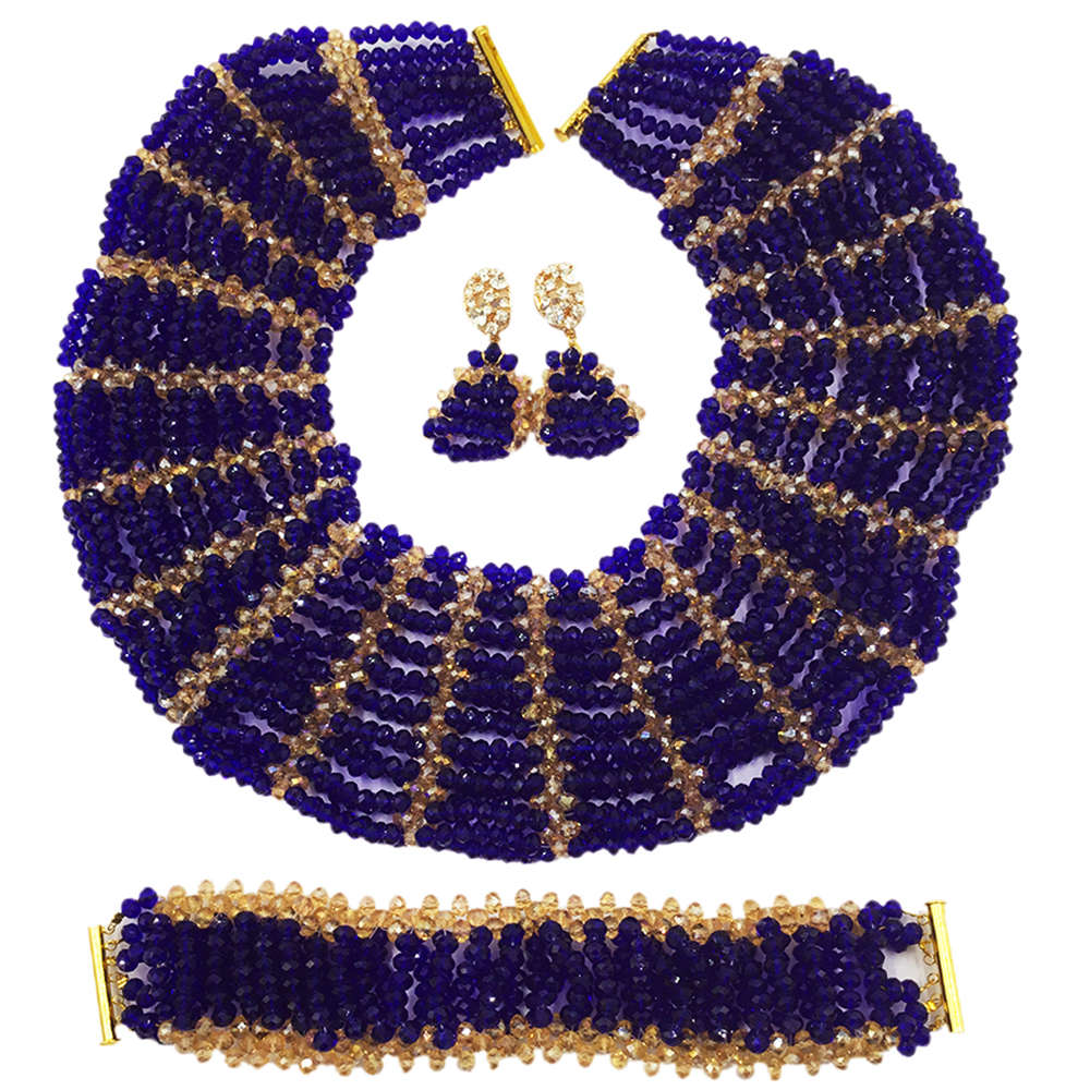 Royal Blue Gold Crystal Beaded Jewelry Set Nigerian Wedding African Beads Set Bridal Party Gifts SXK016 все цены