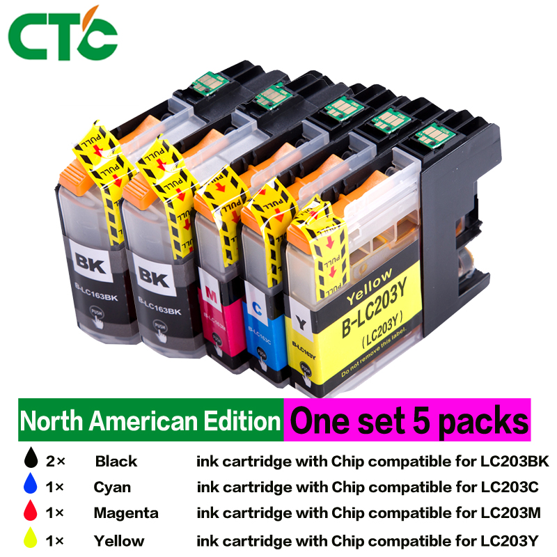 5pcs ink Cartridges with Chipa for Brother MFC-J460DW MFC-J480DW MFC-J485DW MFC-J680DW MFC-J880DW MFC-J885DW