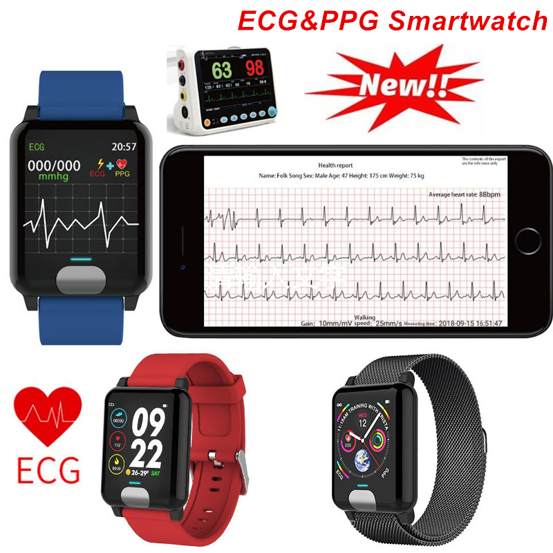 ECG PPG Smart Watch Heart Rate Blood Pressure Sport Smart Sport Bracelet Sleep Monitor Waterproof Smartwatch For IOS Android