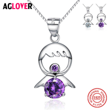 Lovely White & Purple Crystal Little Baby Necklaces Pendants 100% Real 925 Sterling Silver Box Chain Jewelry For Women Girl