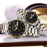 OLEVS Luminous Lovers Quartz Watches Luxury Gold Dial Leather Strap Ladies Wristwatches Steel Belt Women Men