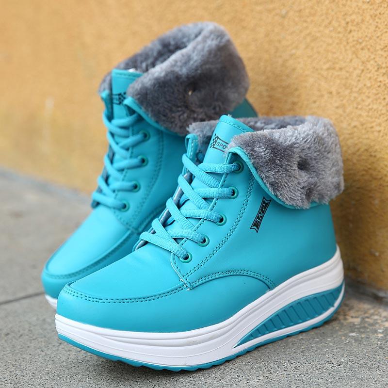 2018 New Lace-up Scarpe Donna Stivali Da Neve Peluche Caldi Stivali Donna Scarpe Di Alta Top Di Inverno Scarpe Femminili Inverno Caviglia Donne Stivali