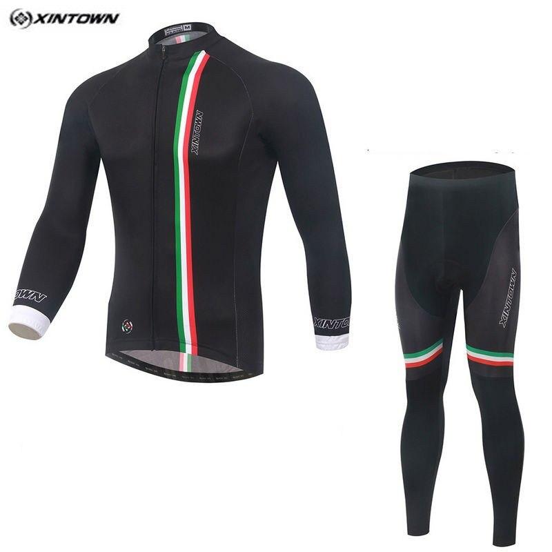 Hot XINTOWN Men MTB Bike jersey Bib Pants Sets Black Pro Team Cycling clothing Riding Wear Long Sleeve Shirts Coolmax