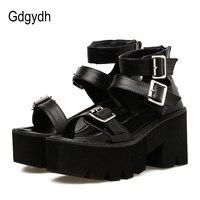Gdgydh/летние модные женские босоножки с ремешком на лодыжке; обувь на платформе с открытым носком; женские черные уникальные Вечерние туфли н...