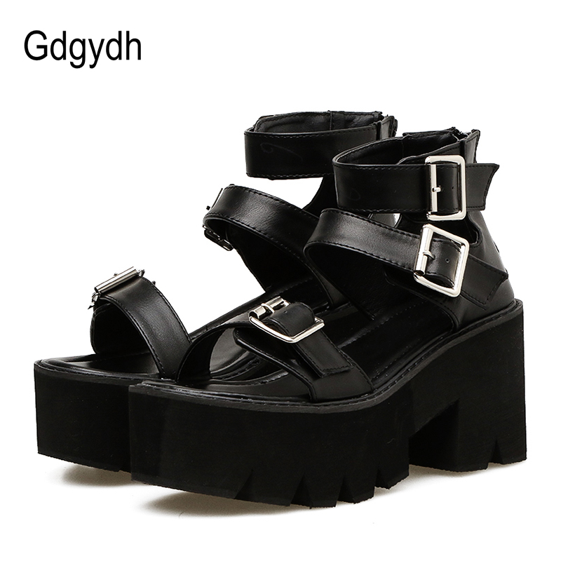 Gdgydh Ankle Strap Summer Fashion Women Sandals Open Toe Platform Shoes High Thick Heels Female Black Unique Party Shoes 35-40