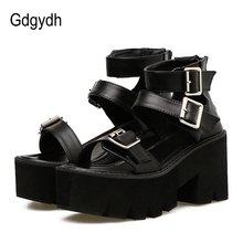 Gdgydh Ankle Strap Summer Fashion Women Sandals Open Toe Platform Shoes High Thick Heels Female Black Unique Party Shoes 35-40 wetkiss summer ankle strap women sandals open toe platform shoes print footwear 2018 super high heels party fashion ladies shoes