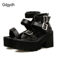 Gdgydh Ankle Strap Summer Fashion Women Sandals Open Toe Platform Shoes High Thick Heels Female Black Unique Party Shoes 35 40