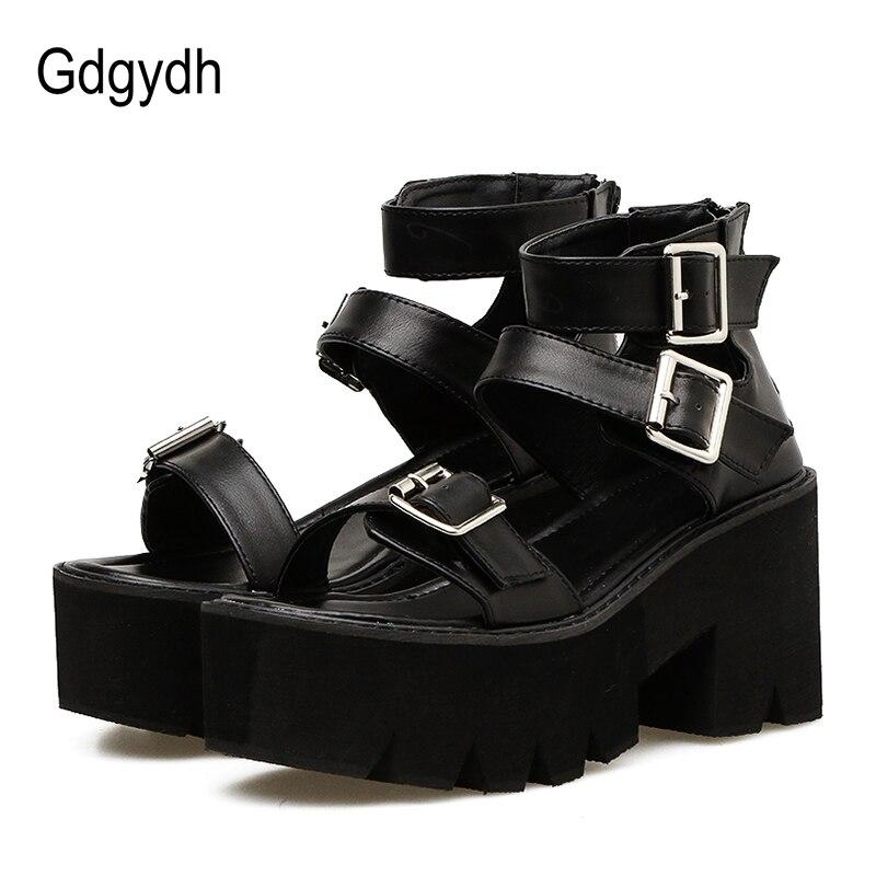 Gdgydh bride à la cheville d'été mode femmes sandales bout ouvert chaussures à plate-forme talons hauts épais femme noir Unique chaussures de fête 35-40